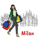 Woman and Milan Cathedral Royalty Free Stock Photography