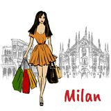 Woman in Milan. Hand-drawn sketch of woman in Milan at Piazza del Duomo in Italy Royalty Free Stock Photography
