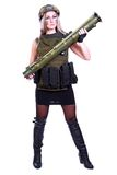 Woman in a military camouflage with a bazooka Royalty Free Stock Photos
