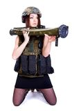 Woman in a military camouflage with a grenade launcher Royalty Free Stock Photos