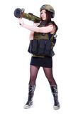 Woman in a military camouflage holding a grenade launcher Royalty Free Stock Photos