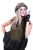 Woman in a military camouflage with a radio Stock Photo