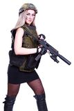 Woman in a military camouflage with a submachine gun. Isolated over white background Stock Photo