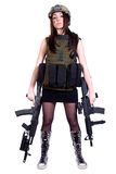 Woman in a military camouflage with two assault rifles Stock Photos
