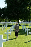 Woman in military cemetery Royalty Free Stock Photos