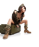 Woman in military clothes. royalty free stock image