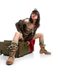 Woman in military clothes. Royalty Free Stock Photography
