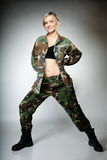 Woman in military clothes, army girl Royalty Free Stock Photos