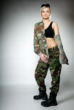 Woman in military clothes, army girl Royalty Free Stock Photo