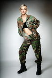 Woman in military clothes, army girl Stock Images