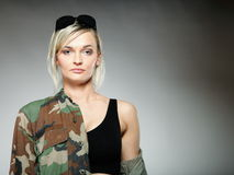 Woman in military clothes, army girl Stock Image