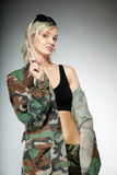 Woman in military clothes, army girl Stock Photo