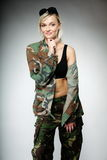 Woman in military clothes, army girl Stock Photos