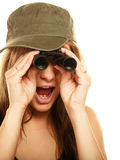 Woman in military clothes with binoculars Royalty Free Stock Photos