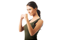 Woman in military clothes boxing Stock Photos