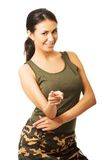 Woman in military clothes pointing on you Stock Photography