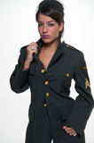 Woman in military clothing Stock Photo