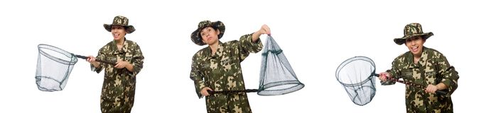 The woman in military clothing with catching net. Woman in military clothing with catching net stock image
