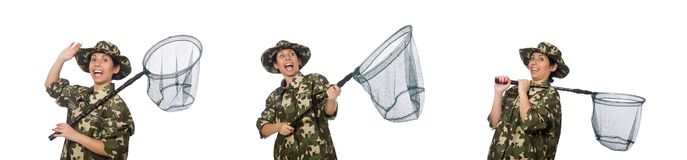 The woman in military clothing with catching net. Woman in military clothing with catching net royalty free stock photos
