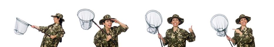 The woman in military clothing with catching net. Woman in military clothing with catching net royalty free stock photo