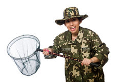 Woman in military clothing with catching net Stock Photo