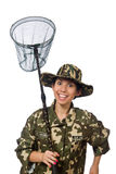 Woman in military clothing with catching net Stock Image