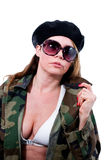 Woman in military jacket Royalty Free Stock Photo