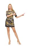 Woman in military style dress isolated on the Stock Images