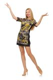 Woman in military style dress isolated on the Royalty Free Stock Photo