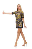 Woman in military style dress isolated on white Stock Photography