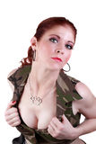 Woman in military style top showing cleavage Royalty Free Stock Photos