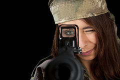 Woman in military uniform Royalty Free Stock Image