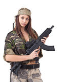 Woman in military uniform Stock Images