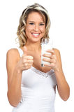 Woman with milk Royalty Free Stock Images
