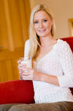 Woman With Milk Stock Images