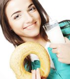 Woman with milk and donut Royalty Free Stock Photo