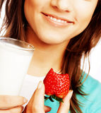 Woman with milk and strawberry Royalty Free Stock Photography