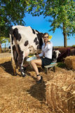 Woman milking cow. Business woman milking cow on farm royalty free stock images