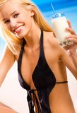 Woman with milkshake Royalty Free Stock Images