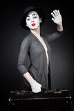 Woman mime in hat with suitcase Royalty Free Stock Images