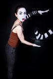 Woman mime performing focus Royalty Free Stock Image