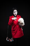 Woman mime with puppy Royalty Free Stock Image