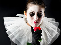 Woman mime. With red rose Royalty Free Stock Photography