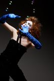Woman mime with soap bubbles. Stock Images