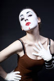 Woman mime with theatrical makeup Royalty Free Stock Image