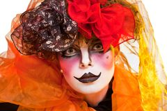 Woman mime with theatrical makeup Royalty Free Stock Photography
