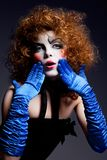 Woman mime with theatrical makeup Royalty Free Stock Photos
