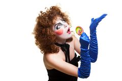 Woman mime with theatrical makeup singing Royalty Free Stock Images