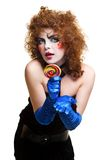 Woman mime with theatrical makeup singing Royalty Free Stock Image