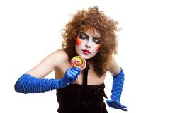 Woman mime with theatrical makeup singing Stock Image